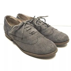 Suede Leather Wingtips Loafers Womens Size 8.5